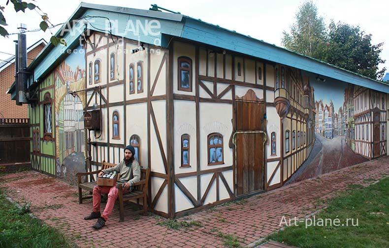 Роспись фасада в стиле Фахверк