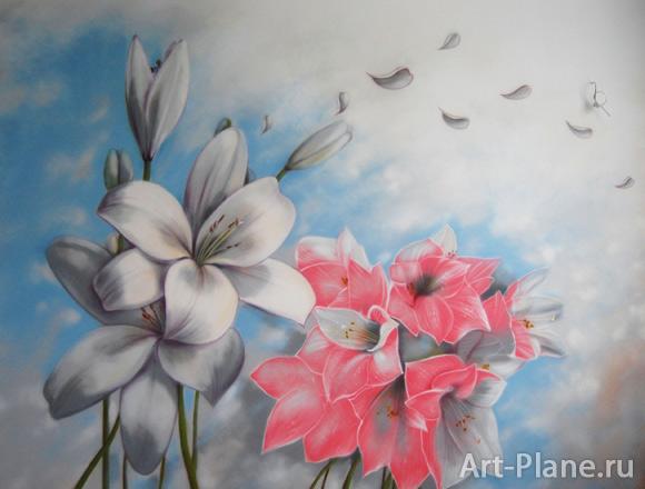 Нарисовать лилию на стене