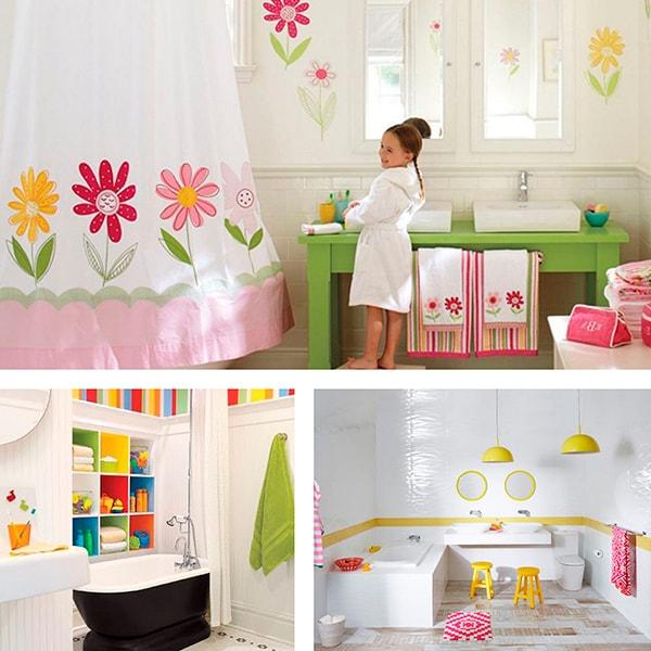 Идея с белой детской ванной комнатой и с яркой мебелью