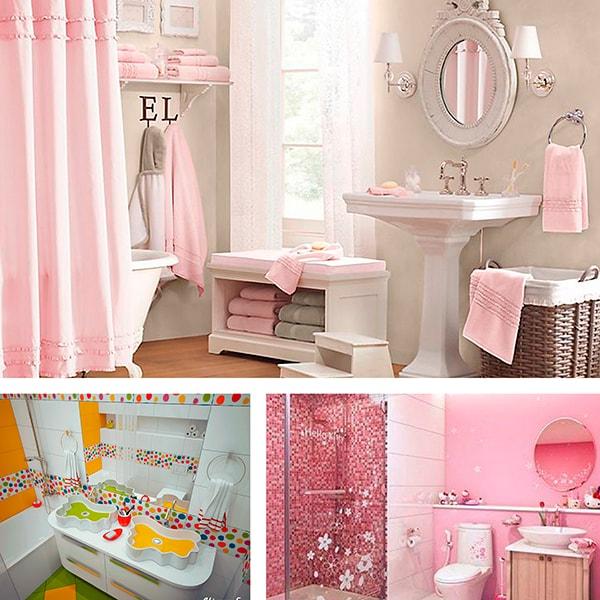 Оформление ванной комнаты, когда дети девочки